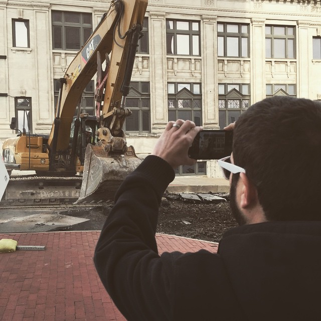 @betweenthepixels shooting a behind-the-scenes shot of @andyo7 documenting some of the ongoing carnage on Hickory St.