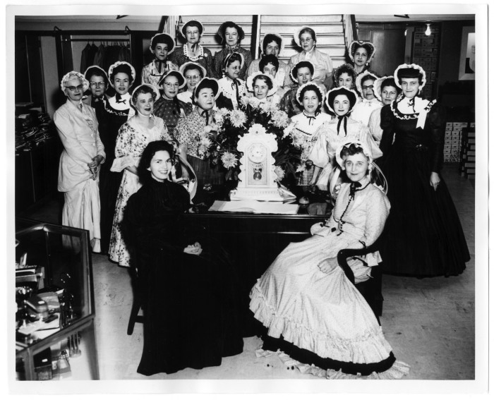 A group of Denton ladies dressed up for the city's centennial celebration in 1957, 'cuz we all sure do love an excuse for nifty costumes! Photo from  TexasHistory.unt.edu.