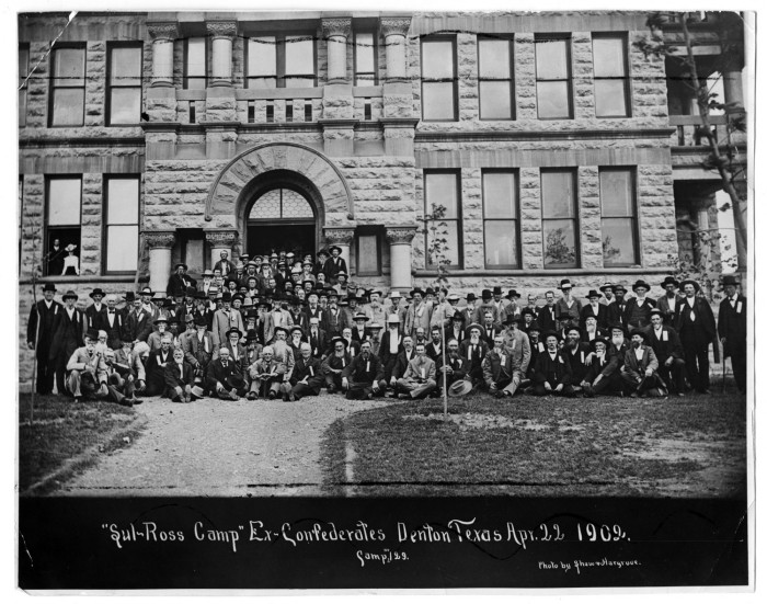"""Photo of former Confederate soldiers from """"Sul-Ross Camp"""" number 129, taken in front of the Denton County Courthouse during a 1902 reunion. Courtesy of the UNT Libraries and Portal to Texas History."""