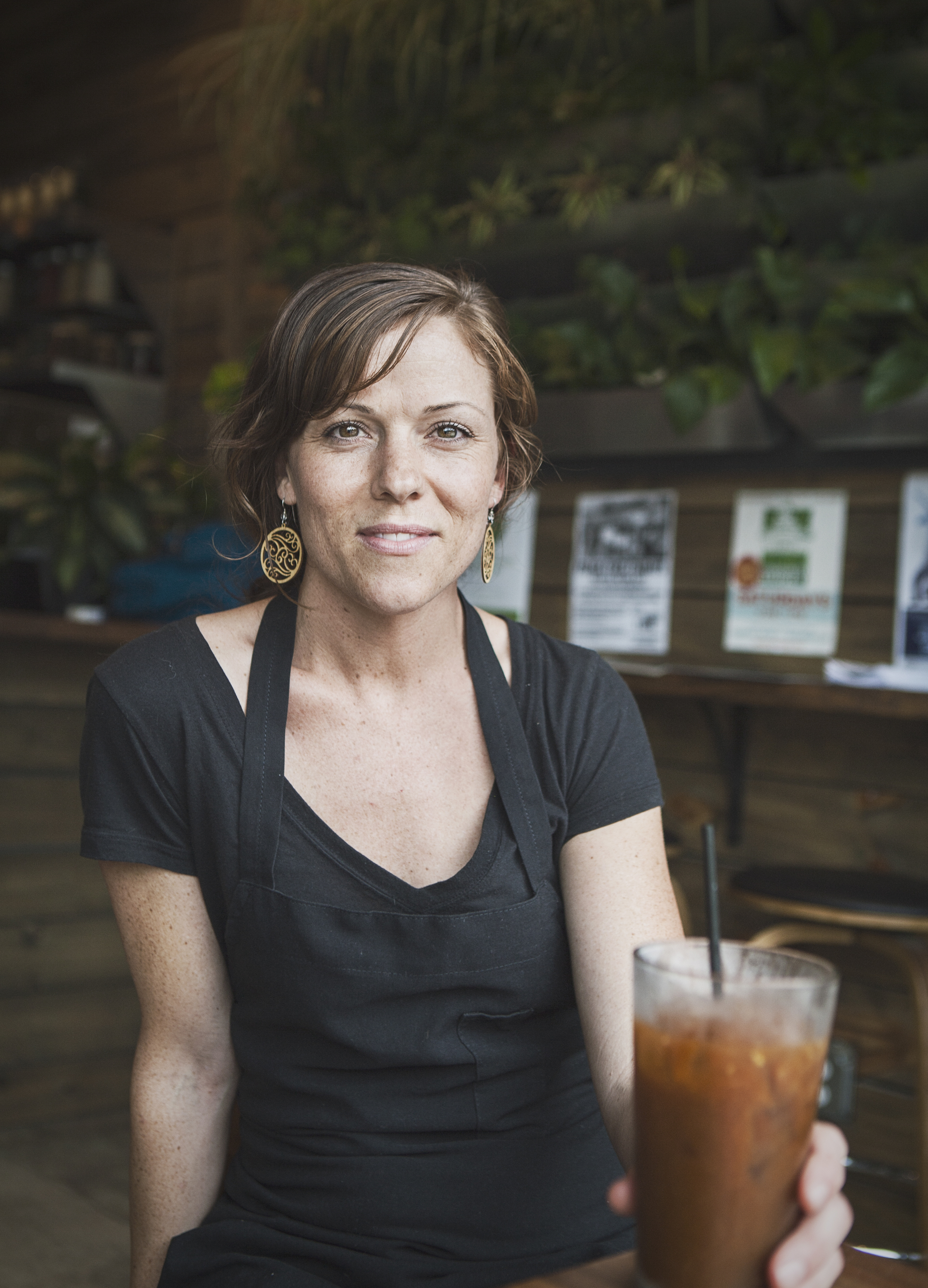 Harvest House Cafe Manager, Andie Sterling, and some cold brew.Photo by Will Milne.