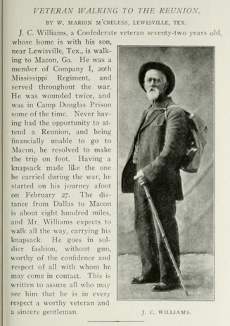 The Walkabout Odyssey of J.C. Williams mocks your best FitBit stats, ya whippersnapper slackers! Photo from  this Mississippi-soldier website .