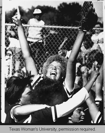 Kathy Arendsen struck-out NY Yankees legend Reggie Jackson THREE TIMES with a 95MPH underhanded softball pitch… Yep, she throws like a girl.  Photo from TWU's digital archives.