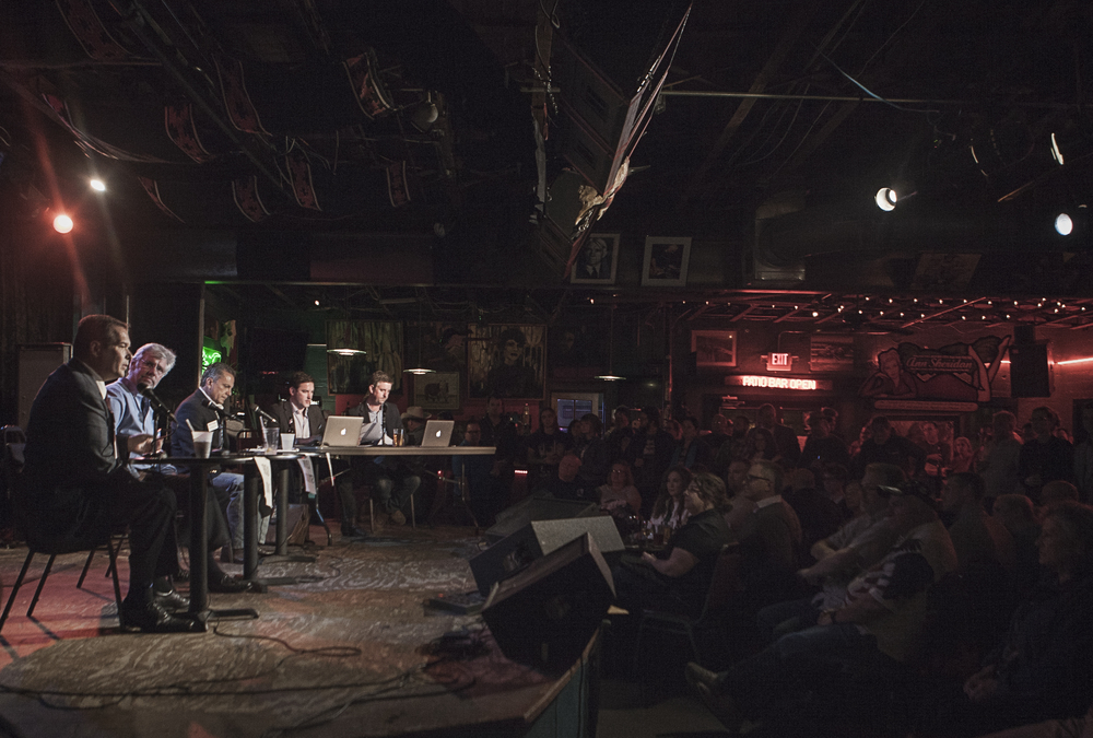 A scene from a previous well-attended #WDDI debate at Dan's Silverleaf.