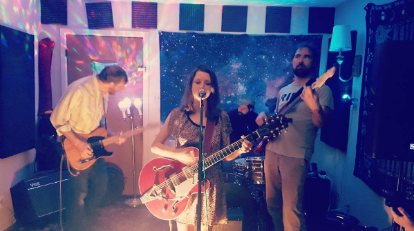 @lovedentonarts caught Exit Glaciers at the Nebulae House for an album release.
