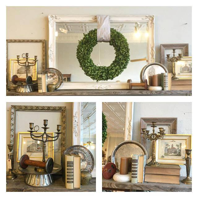 Vintage Bleu is ready to style your mantle.