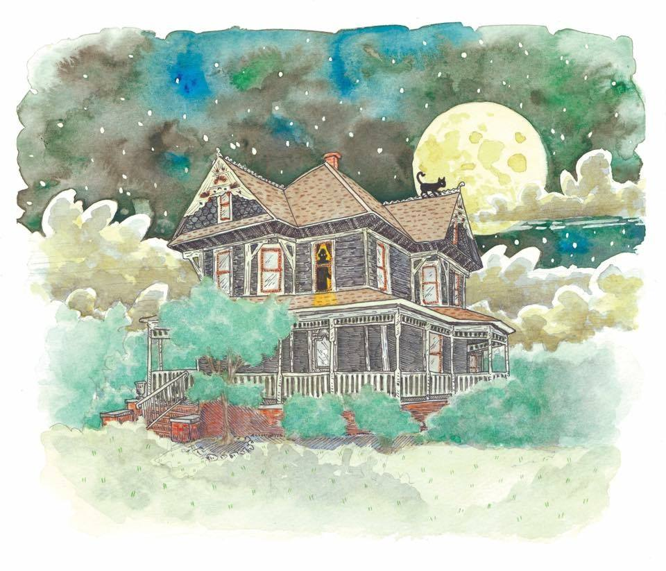 Bayless-Selby House Museum woodcut, by 'Quickdraw' Joe Duncan Illustration.