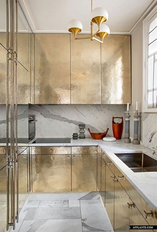 Jean Louis Deniot's Paris apartment. Hammered Gold, Mid Century Pendant Lamp...Sigh.