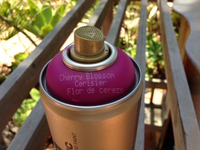 """montana spray paint in cherry blossom. if you're spraying plastic, go with the gold can as it has less of a forceful output and """"sticks"""" better."""