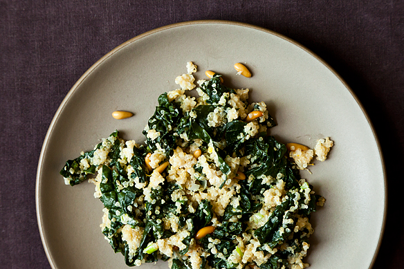 one pot kale and quinoa pilaf: so bright, so delicious, so easy.  i added diced dried apricots.  gluten free!