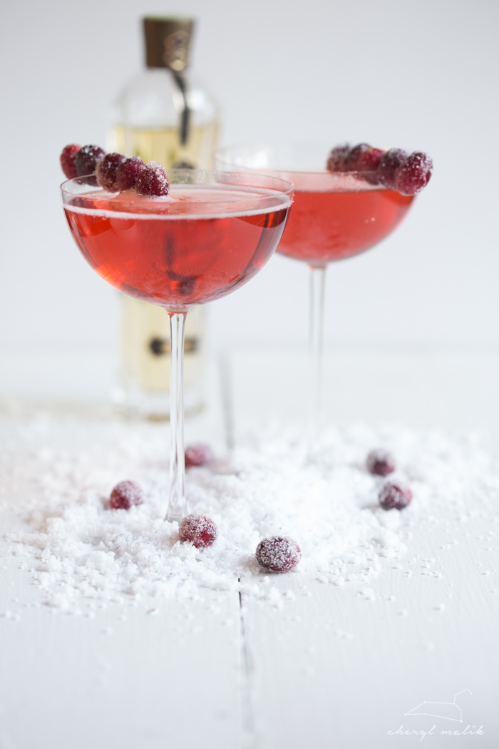 Cranberry Elderflower Champagne Cocktail