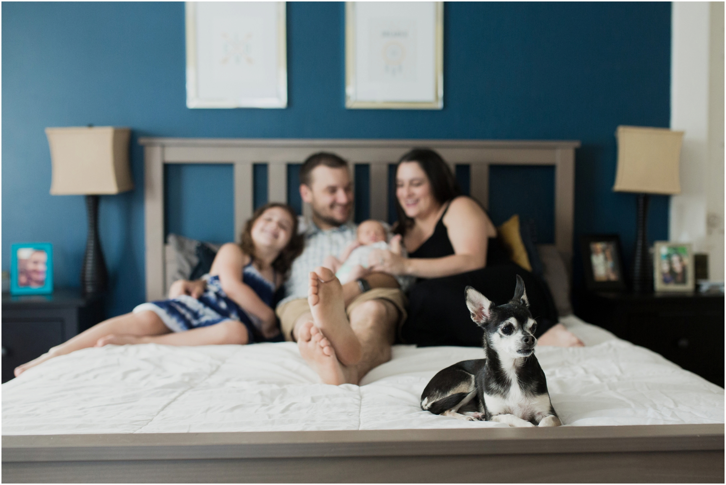 newborn-photo-family-on-bed-with-dog