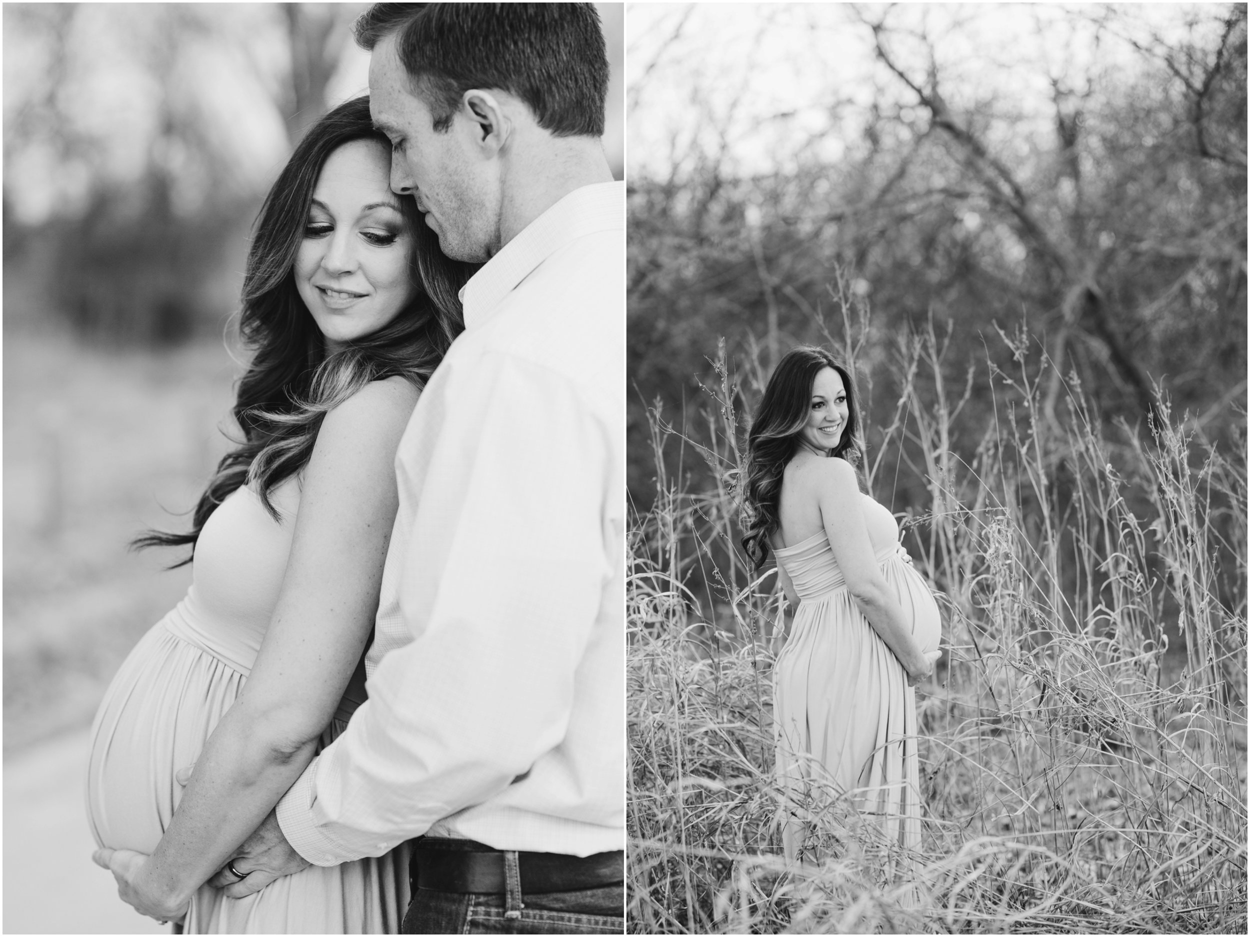 black and white pregnancy photos in tall grass