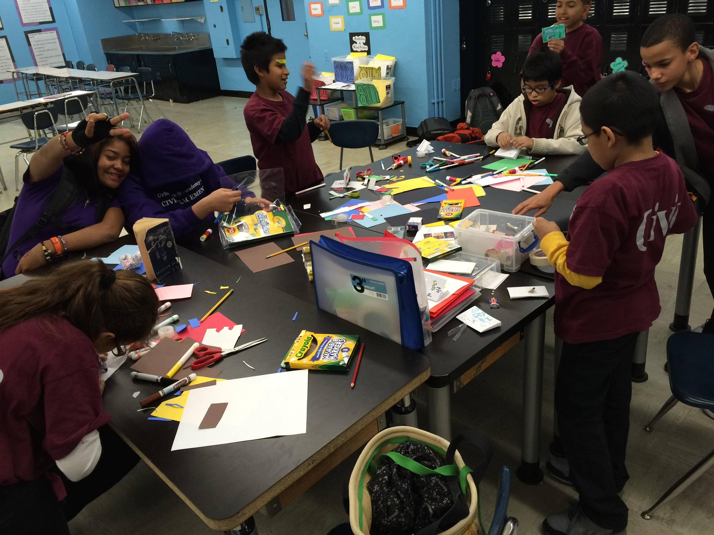 "Maker Team working really hard on their ""Book of Me"" projects - Winter 2014"