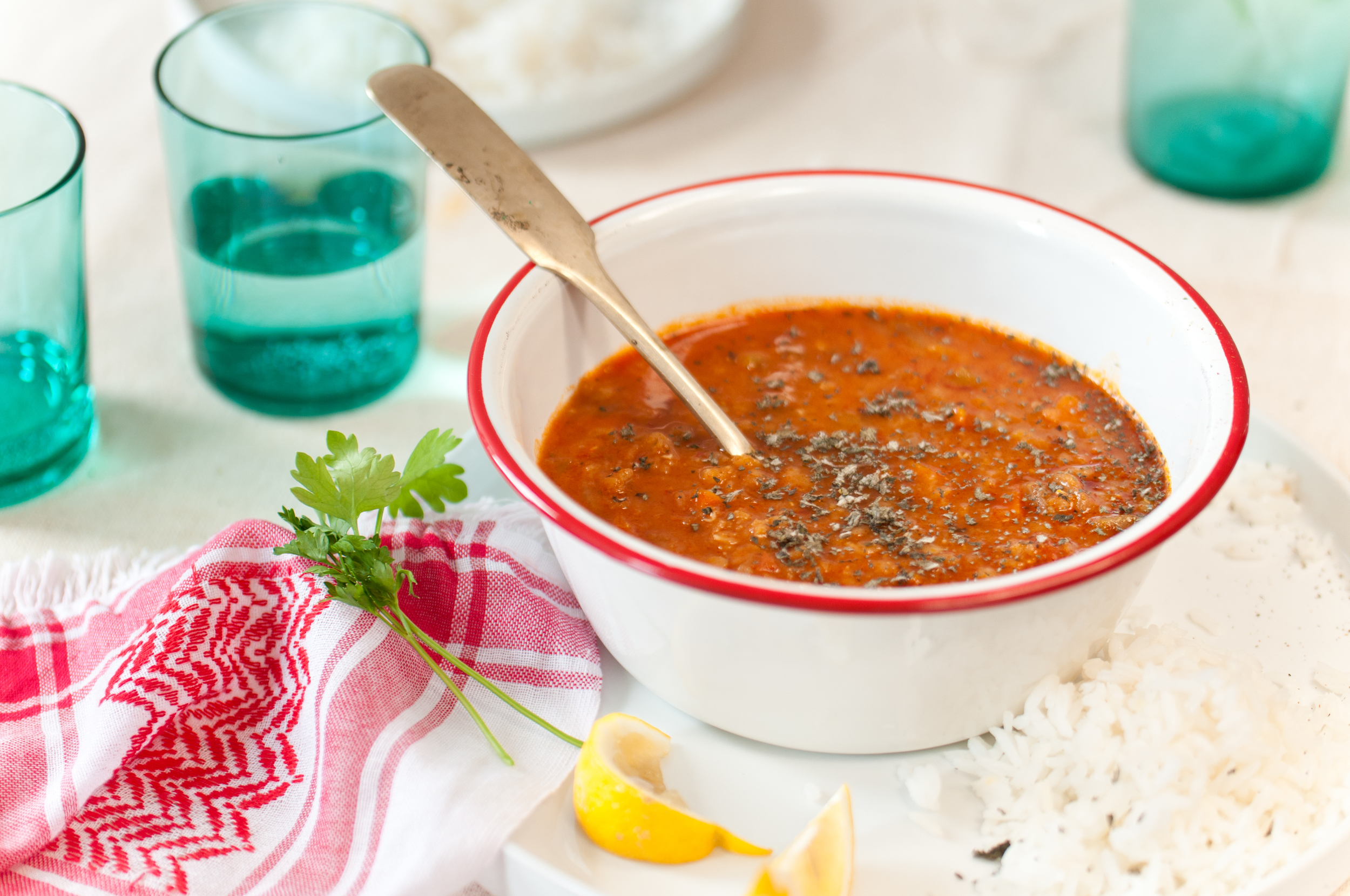 Lentil Soup with Herby Harissa