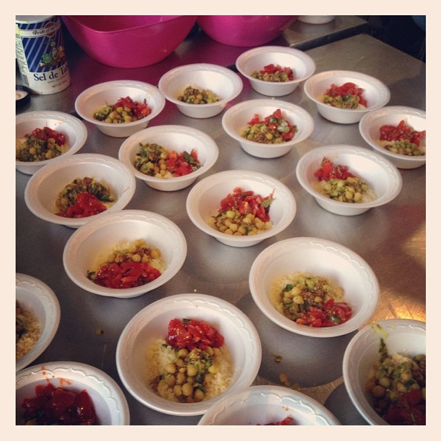A taste of the final dish; hand rolled couscous, chickpea stew and a tomato salsa with lots of Harissa