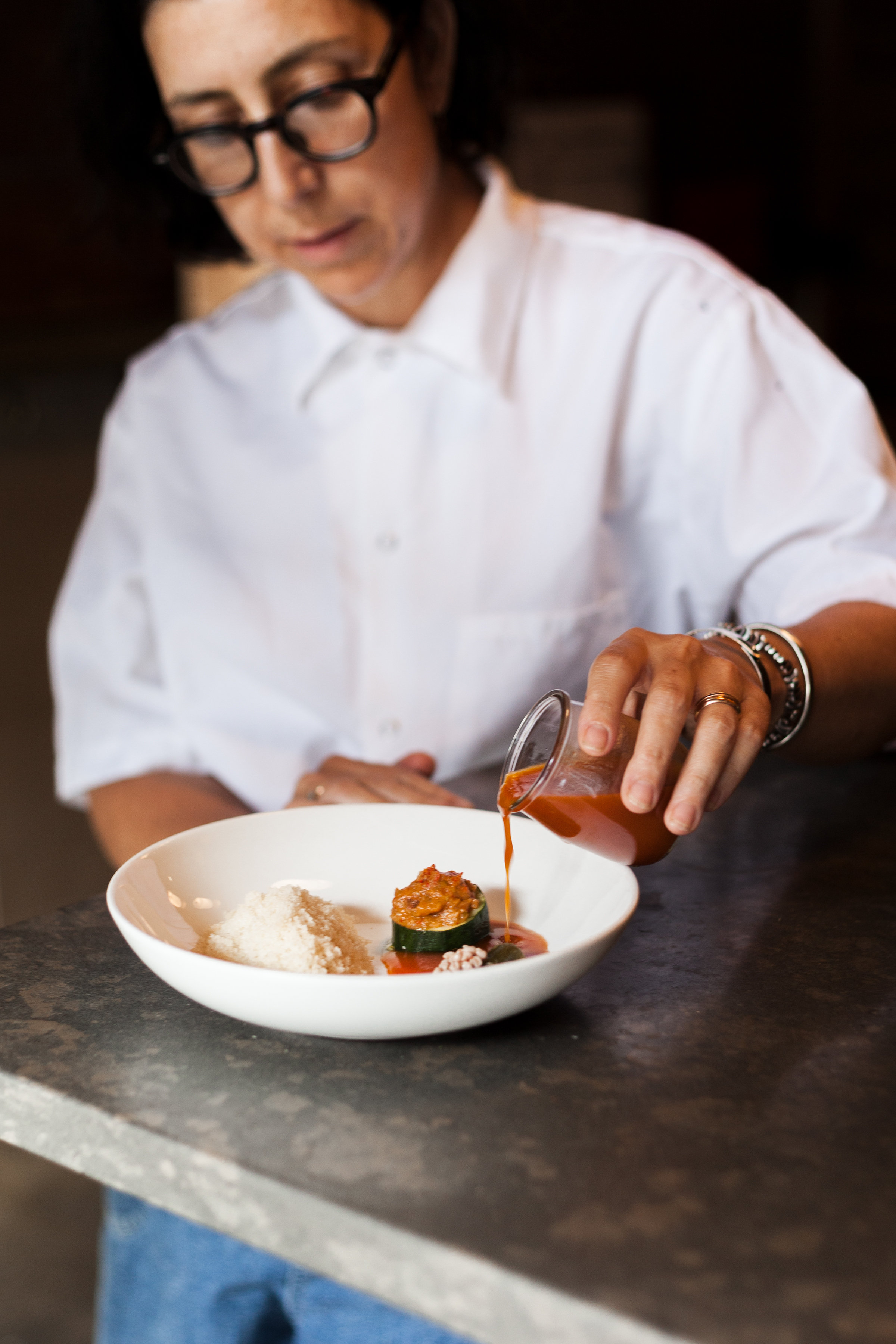 Chef Alex Raij and her couscous & pisto dish. Photos by Maria Midoes