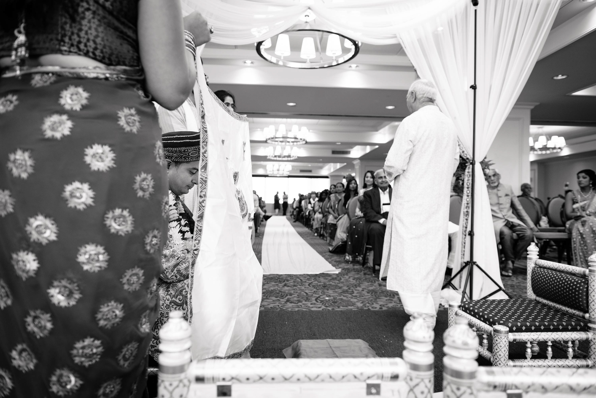 right before the bride walks down the aisle. This was an indoor wedding.