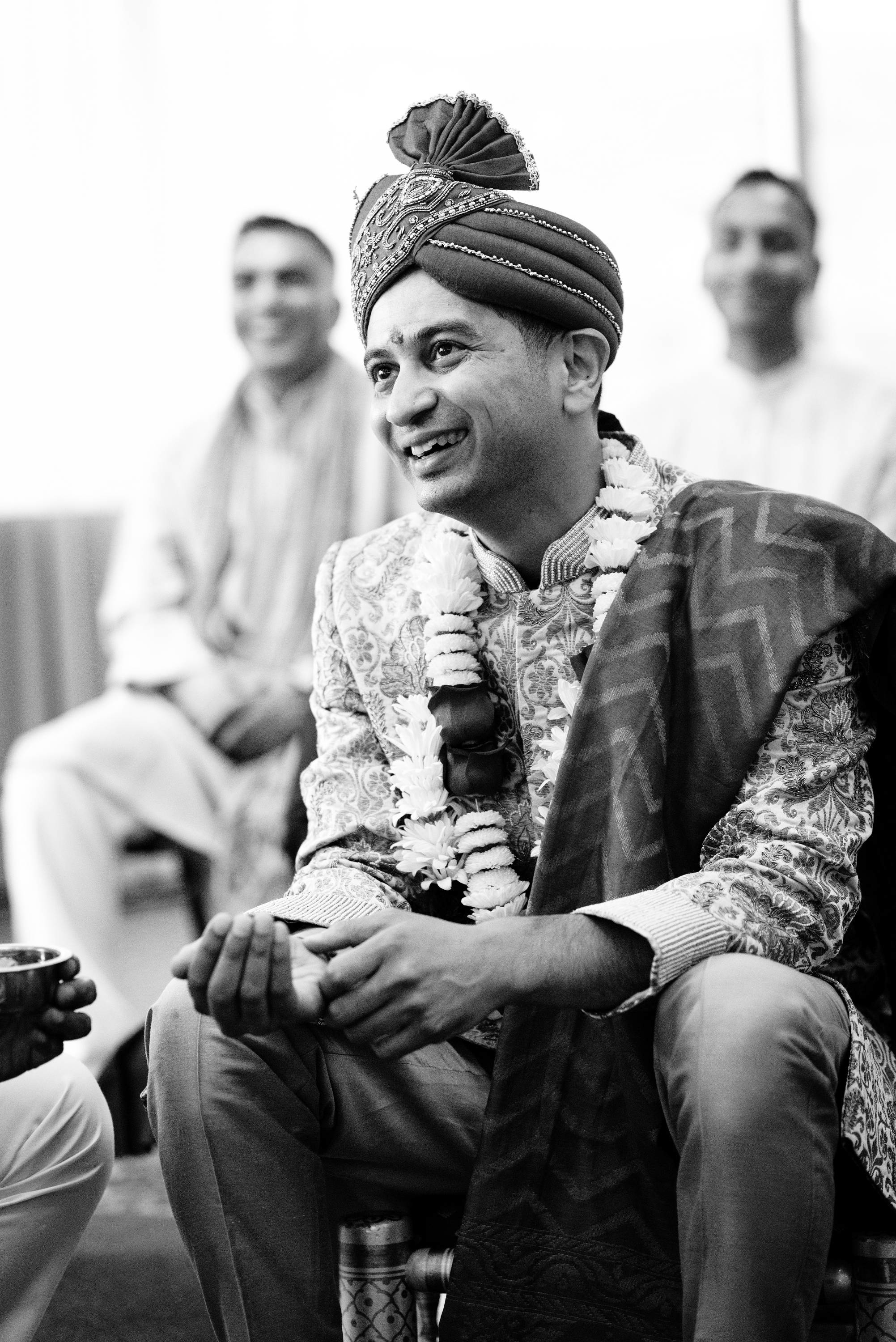 """""""Tilak ceremony"""" is the first ceremony for indian weddings; especially gujarati people. Indian groom waiting for the bride to arrive"""