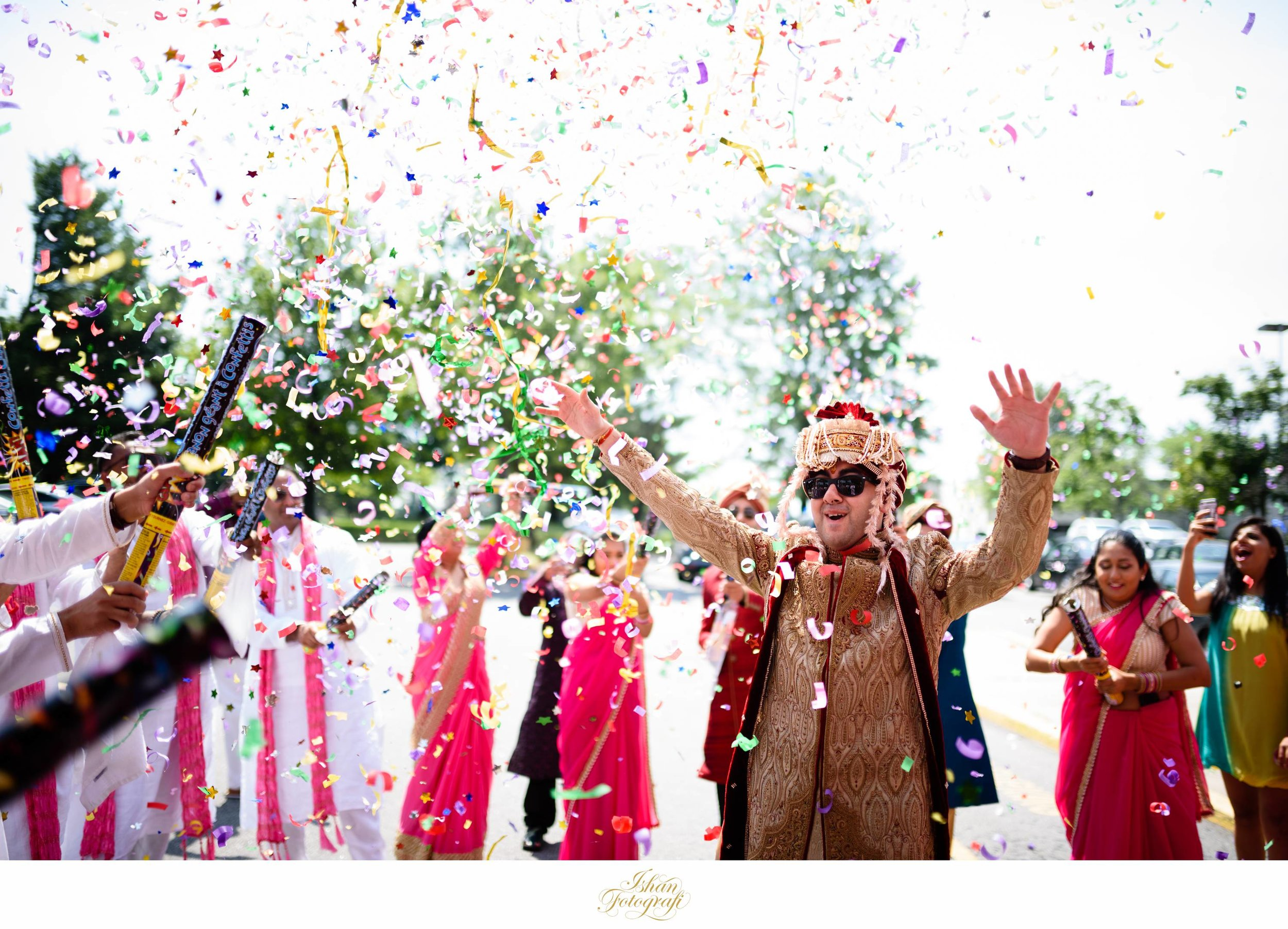 confetti done correctly! The bridal party used multiple confetti during the baraat ceremony. They popped them right before the bride's family received the groom