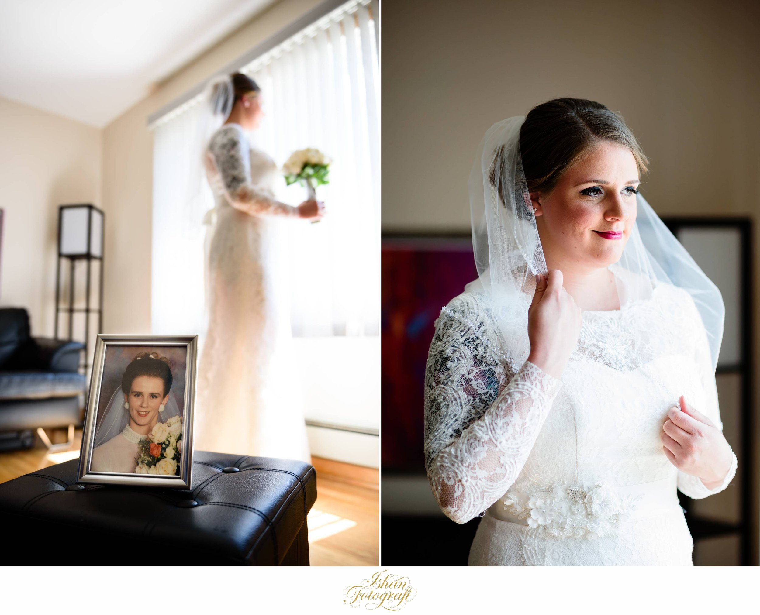 A photograph of Amanda's mother at her own wedding. Sadly, her mother is no longer with us. Wedding photographs can be such powerful memories which are passed along for many generations to come. We wanted to create a meaningful photograph for our bride who was terribly missing her mother on her wedding day.