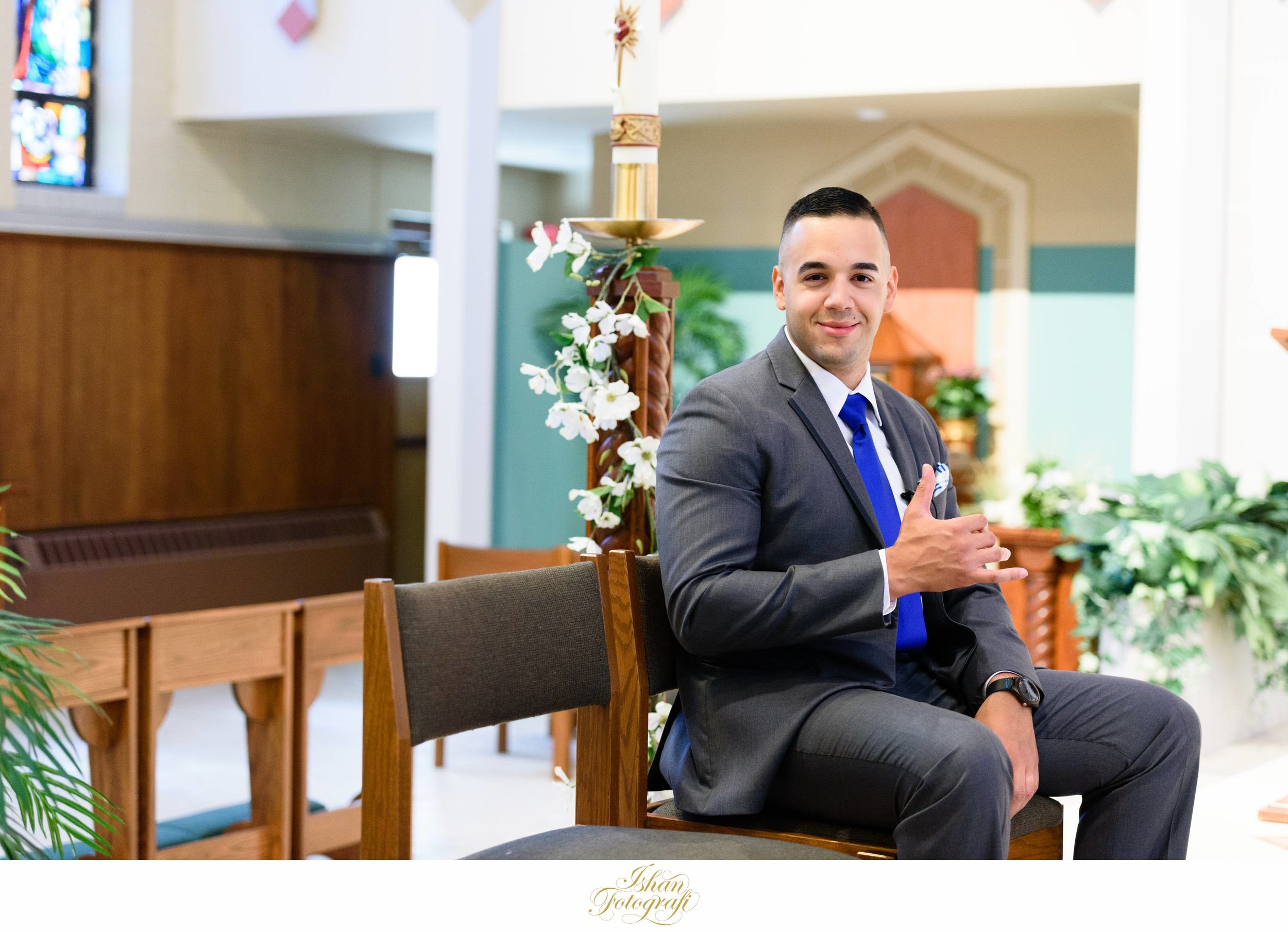 The groom patiently waiting for his bride to arrive. We loved our groom's laid back attitude; he was just in the moment and enjoying it as it unfolded.