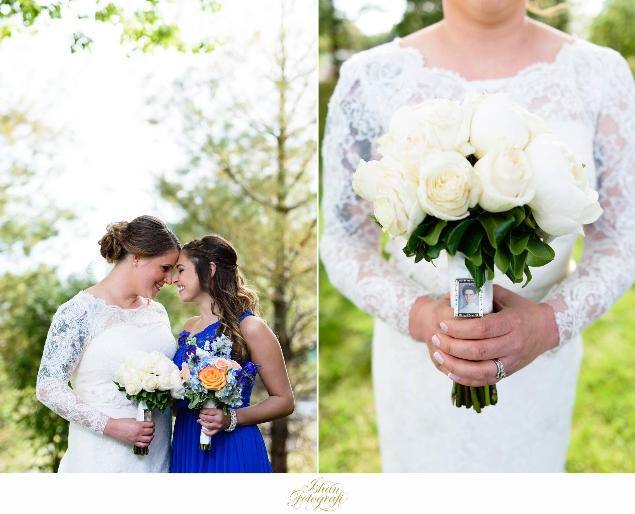 The bride and her bridesmaid. Our bride had her mother's wedding photo attached to the bouquet in her loving memory. The subtle details.