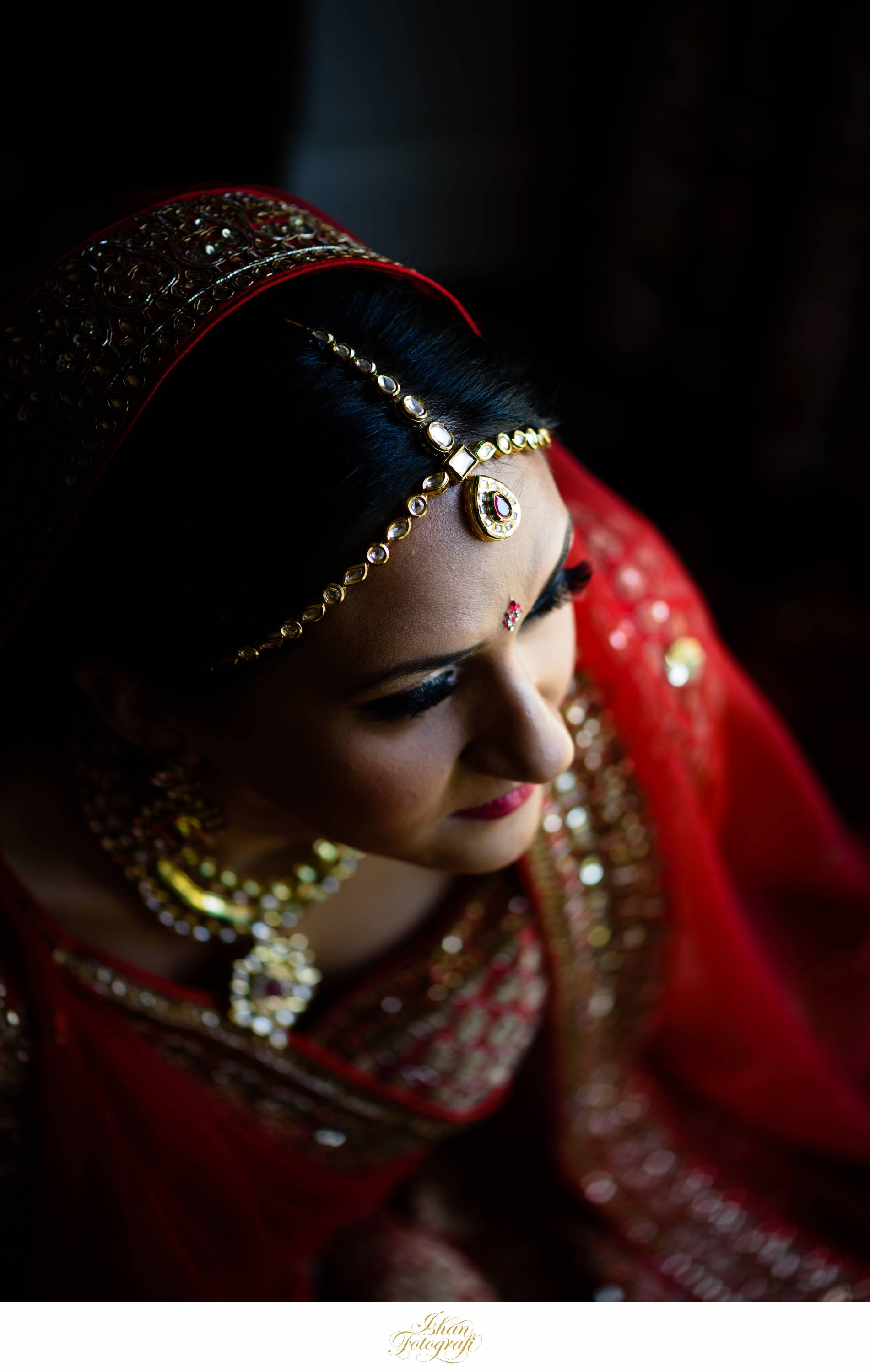 Red is one of the most widely used colors for south asian weddings. Our bride looked stunning!