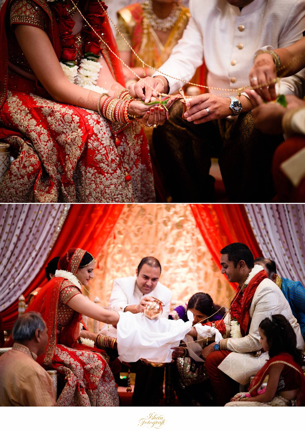 Traditional gujarati wedding ceremony typically lasts around one and a half hour. This is followed by vidaai.