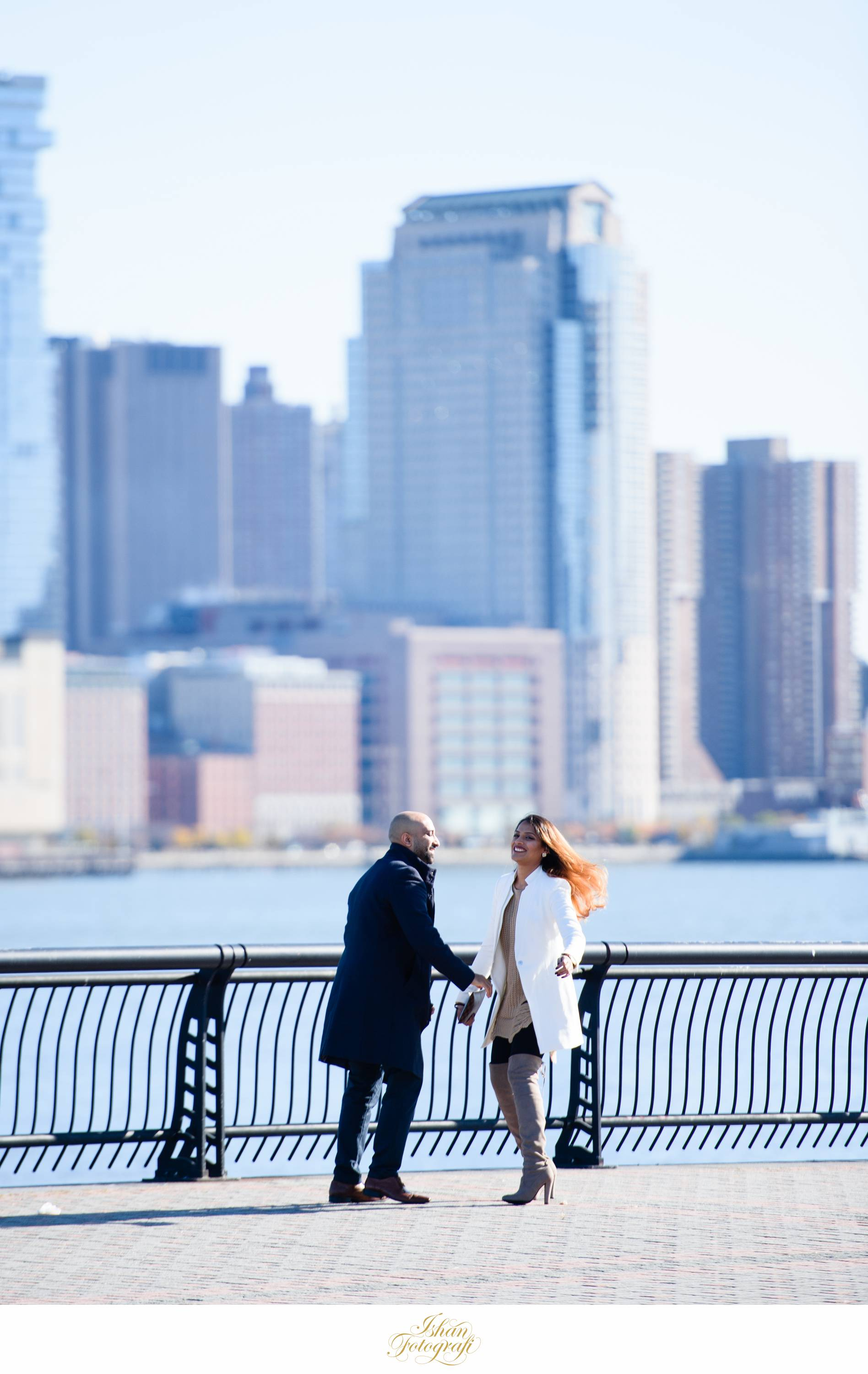 As Jay began his proposal, Shalini could not control her emotions and was ecstatic! Hoboken is a such a great location for a surprise proposal and also engagement shoots. We love photographing in Hoboken in around Pier A & Pier C park.