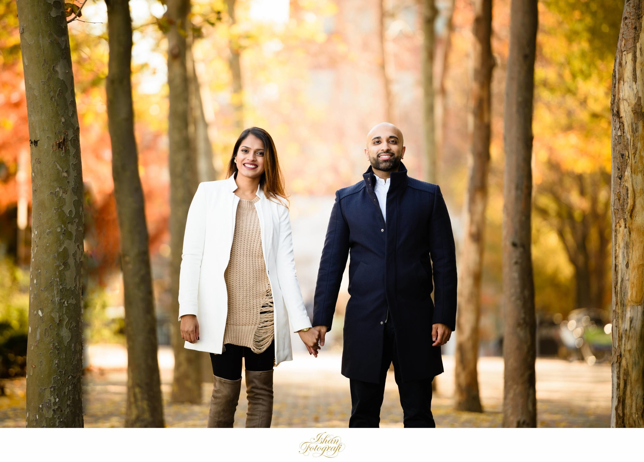 The sidewalk around Pier A & Pier C parks are pretty wide and are covered with tress on either side. This allows us as NJ wedding photographers to create a variety of different looks by simply walking in and around Hoboken. Hoboken has many cobblestone streets which are popular for engagement photos.