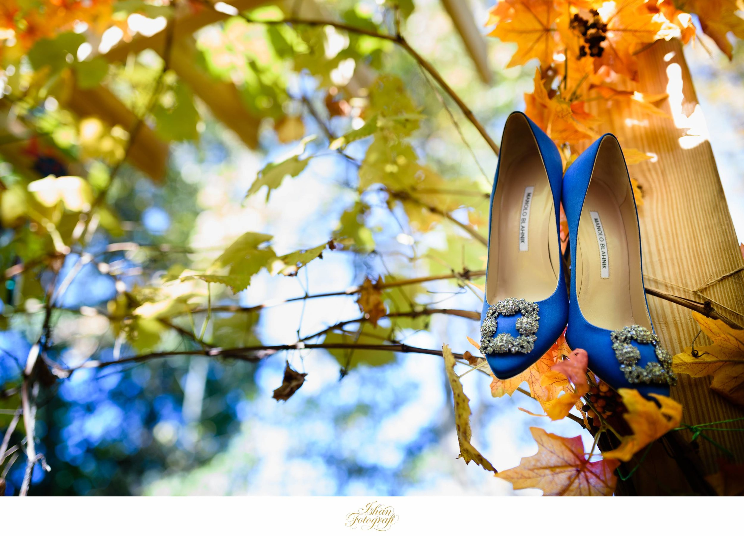 Our bride chose to pair her Elie Saab wedding gown with these stunning Manolo Blahnik blue pumps. Photographing wedding details is our theme at  Ishan Fotografi.  We photographed our bride's wedding details in her backyard. Absolutely pretty!