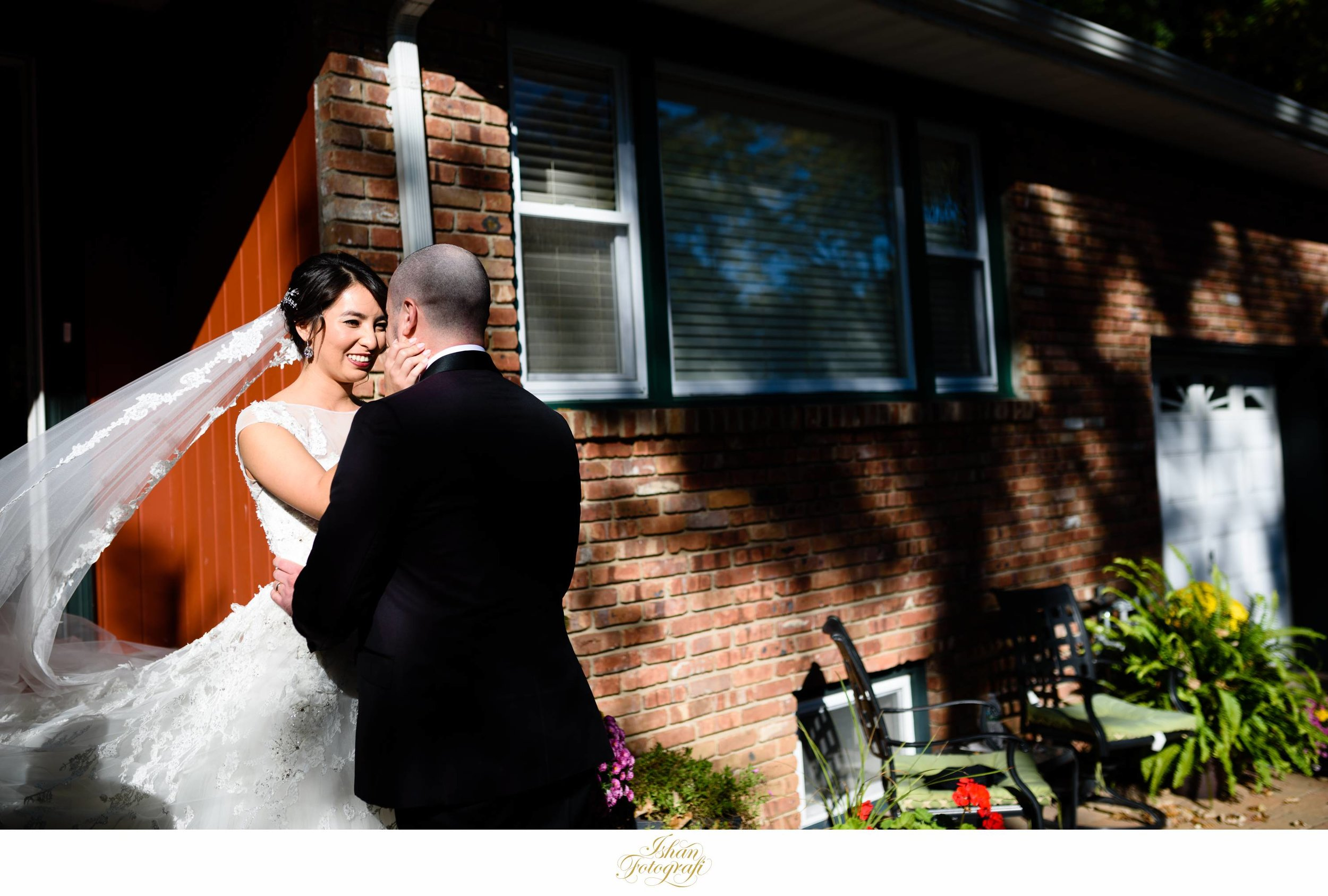 We absolutely adore this moment between our bride and groom during their first look!