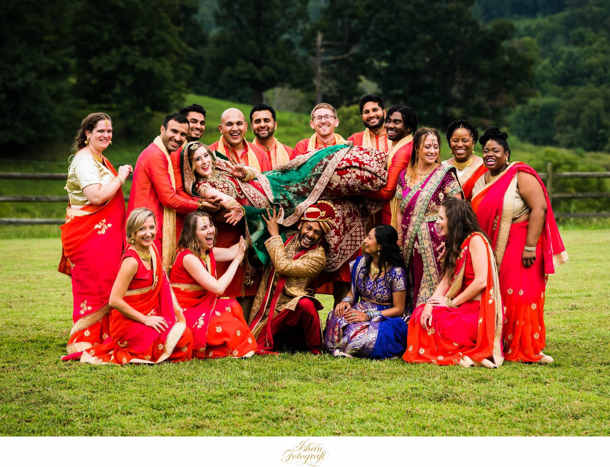 fun-bridal-party-photos-at-claxton-farm-NC
