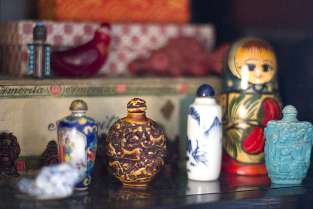 Tes's opium bottle collection.