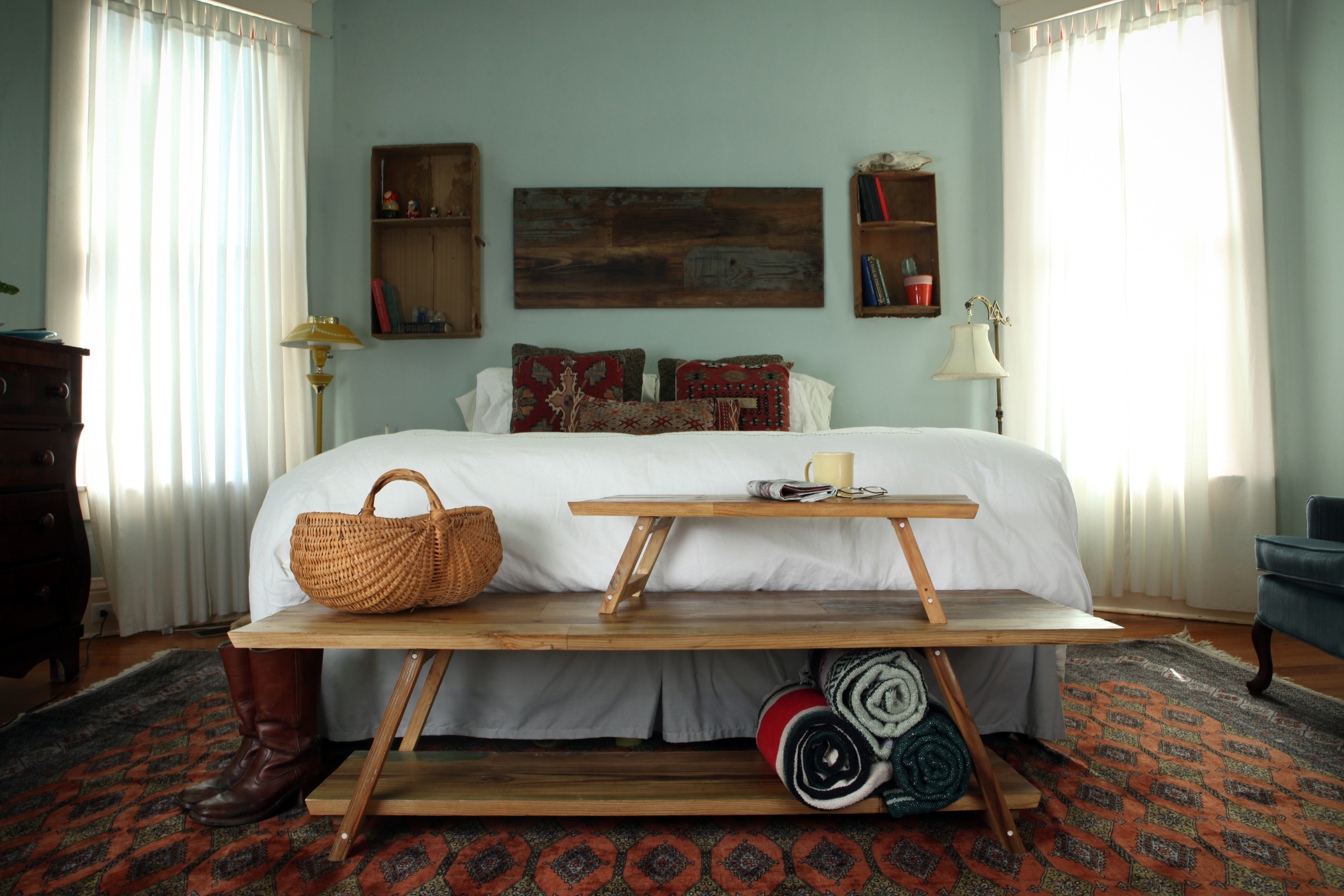 Our bedroom picture was also taken on our Reclaimed Helena photo staging day. You can see the RH Coffee Table used as a Bed End Table, the Breakfast in Bed Table and our Wood Art Piece on the wall. We have our soon to be baby boy's crib in our bedroom for now.