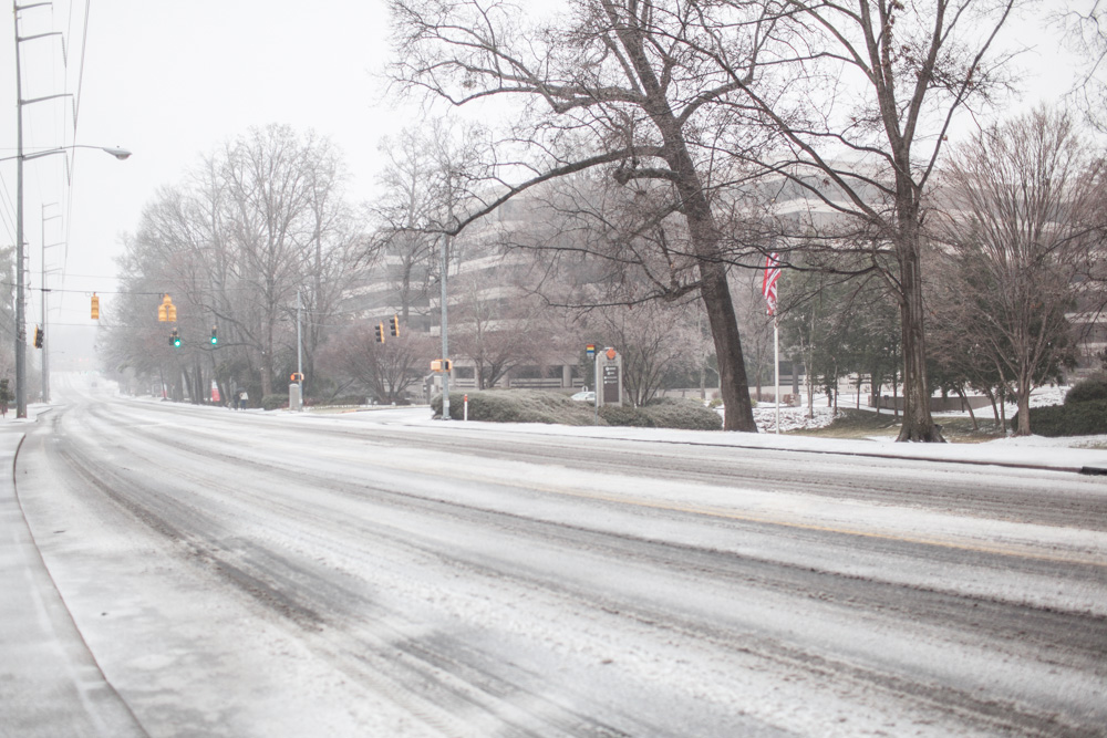 Piedmont road at around 2PM. A car would pass once every couple of minutes. Most Atlantans stayed off the roads today.