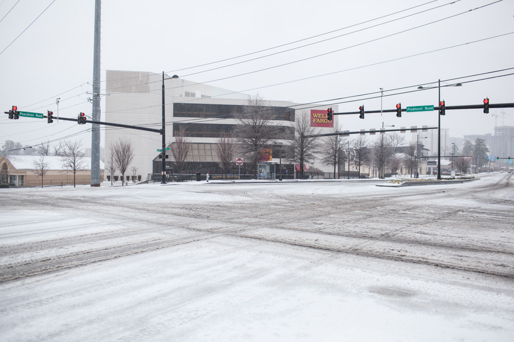 This is the Piedmont Road/Peachtree Road intersection in Buckhead. Not a car in sight...