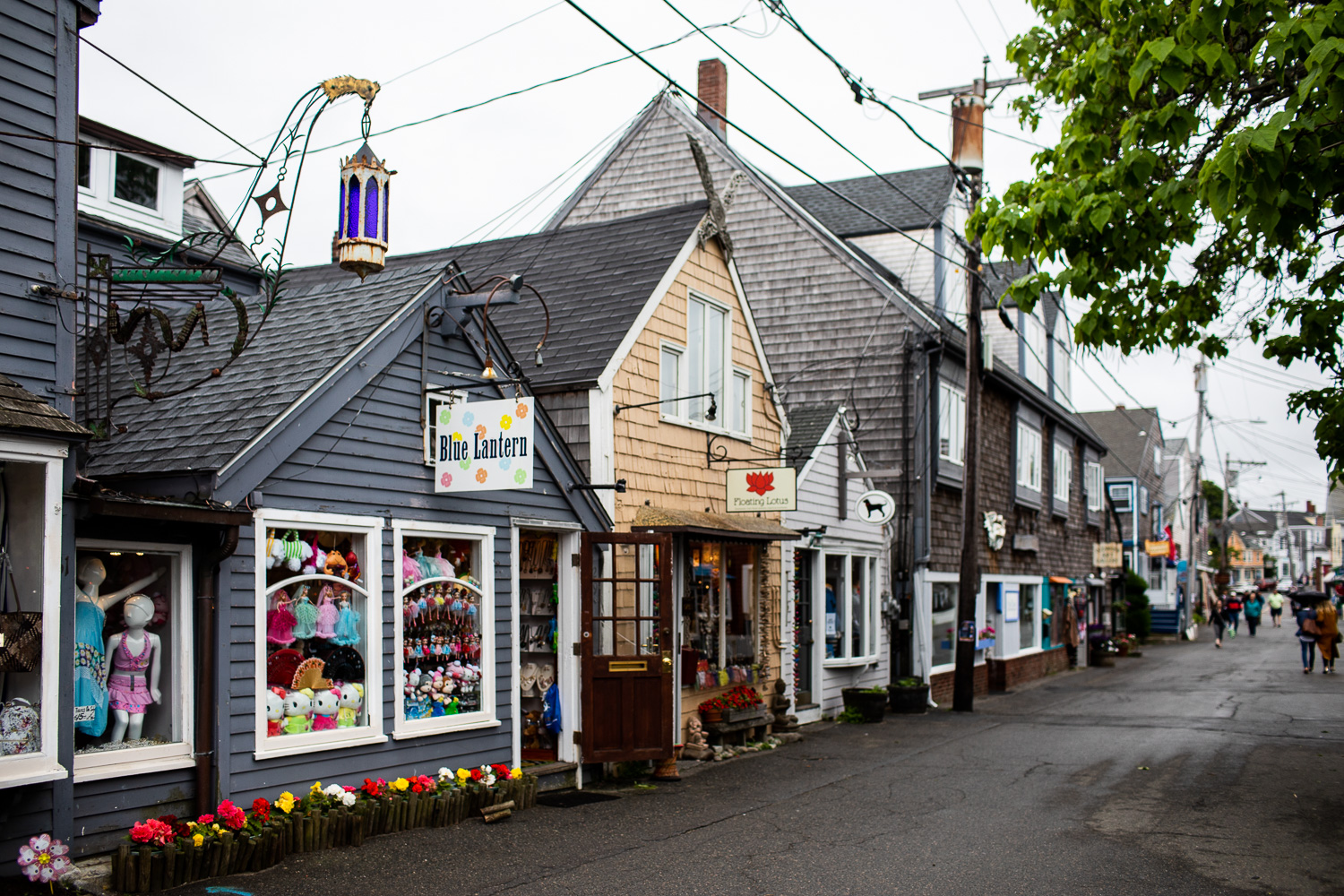 View of the main street in Rockport, MA: Bearskin Neck.