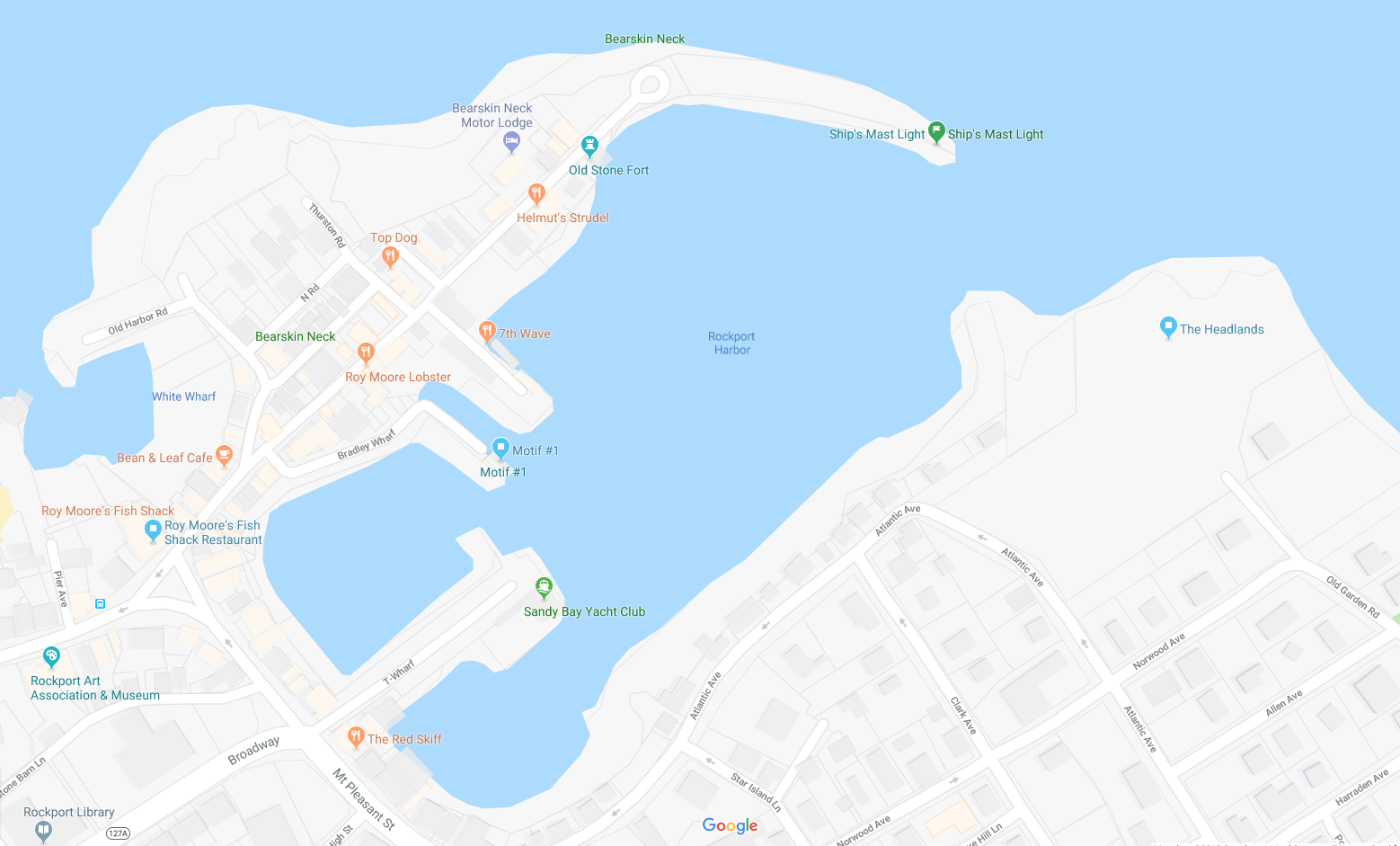 Map of Rockport, MA. To get to the Headlands (blue icon on the upper right), walk from Bearskin Neck via Pt. Pleasant Avenue and Atlantic Avenue. There will be a sign marking the trail to the Headlands from the last house on the street on Atlantic Avenue.