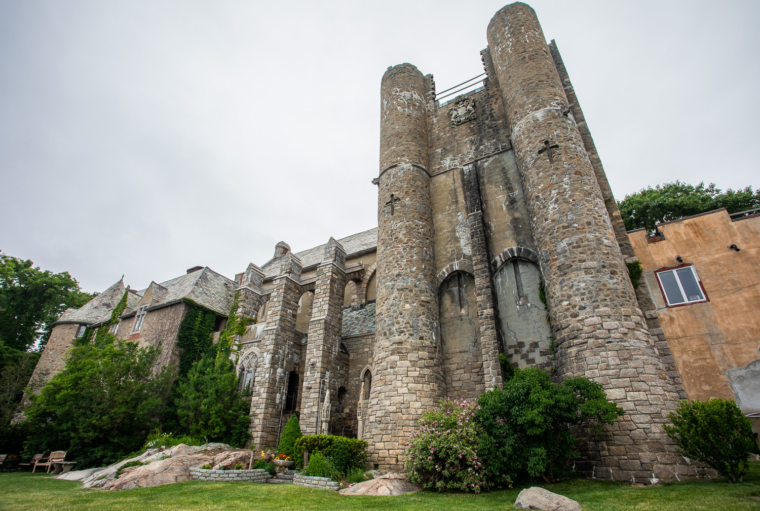 View of the Hammond Castle from the backyard of the residence. The backyard overlooks the Atlantic ocean.