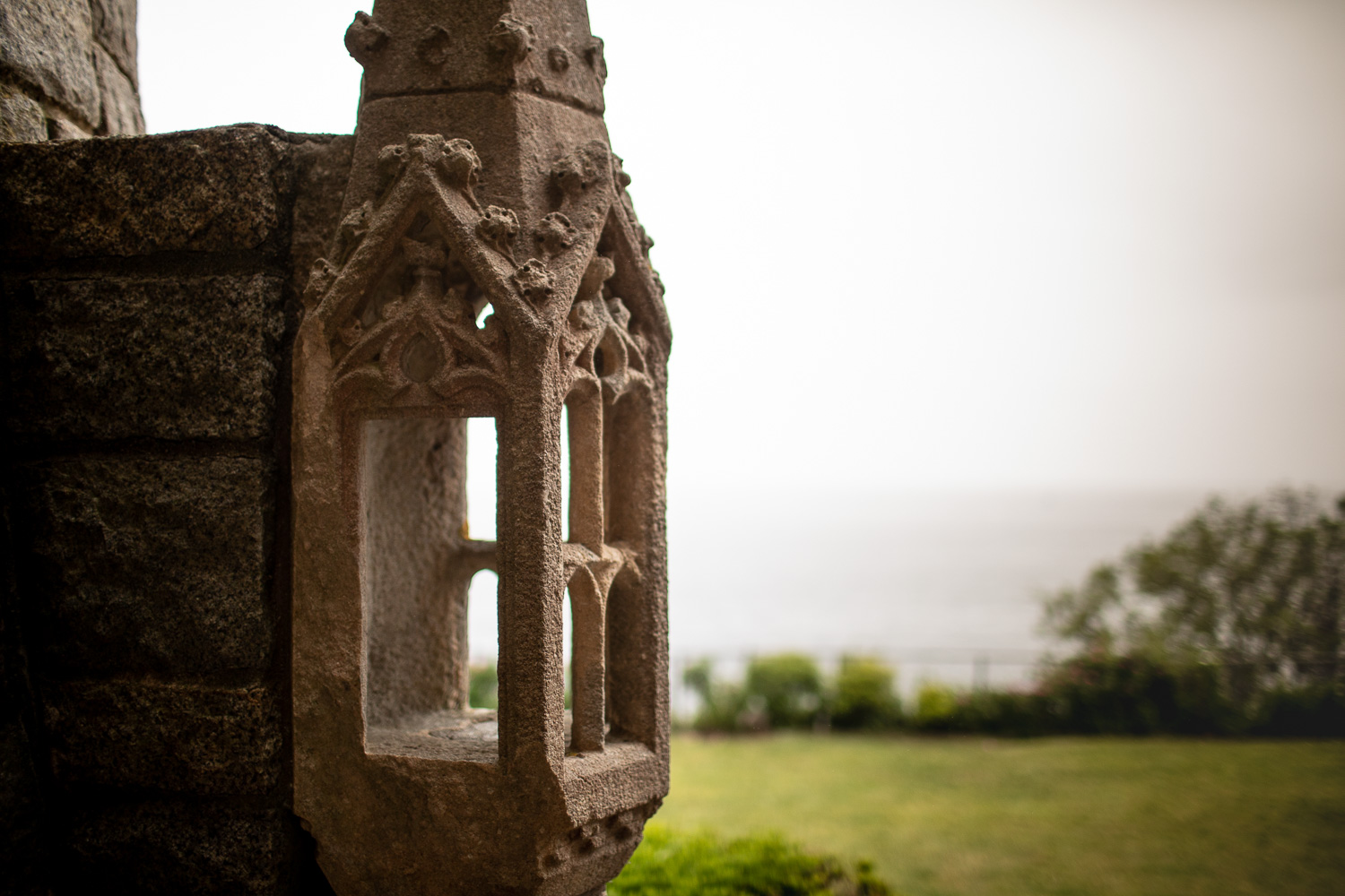 An architectural element on the exterior of the Hammond Castle.