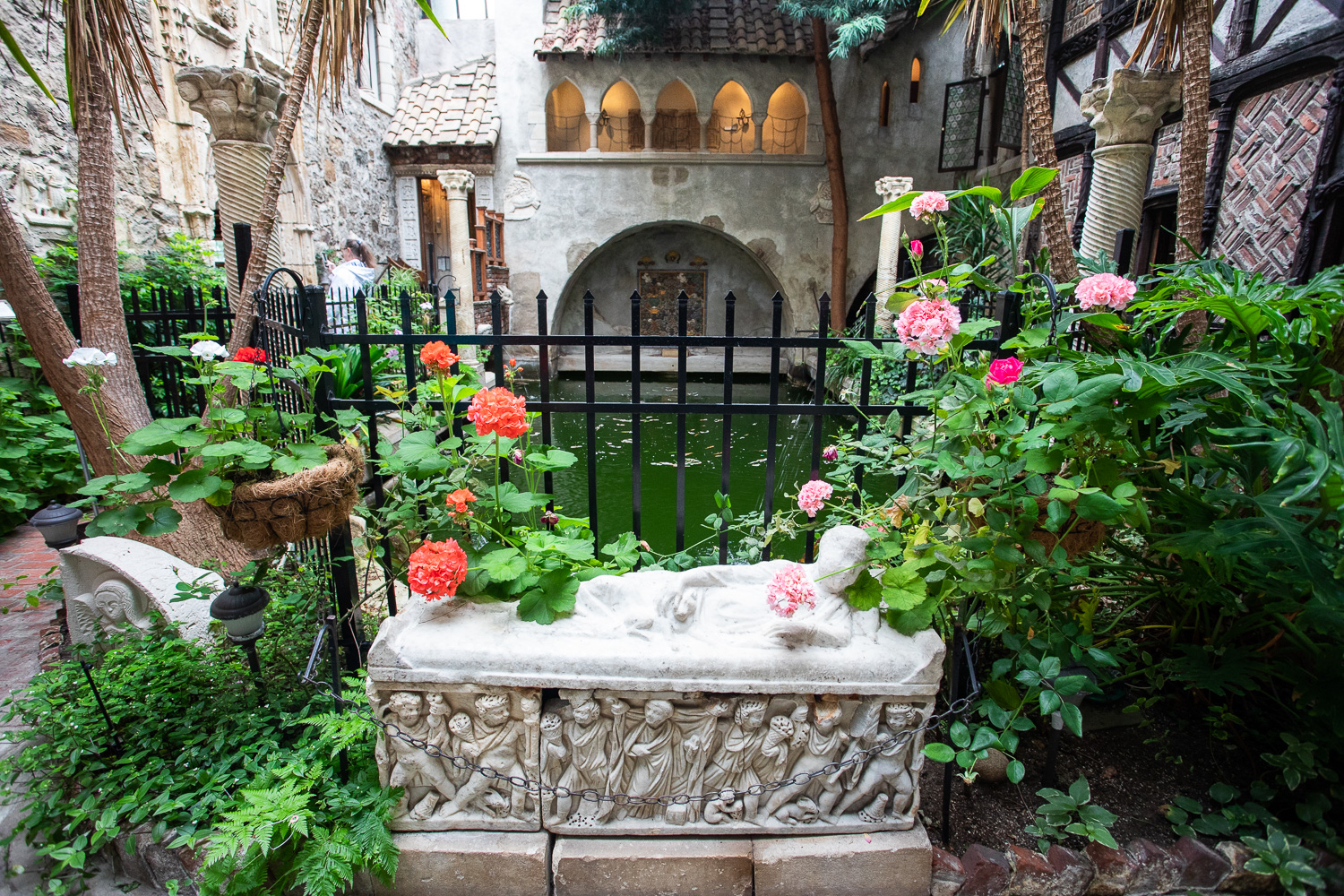 The Hammond Castle contains a room which has a pool. John Hays Hammond, Jr. used to take a dip here, sometimes jumping off from the second story ledge in the background.
