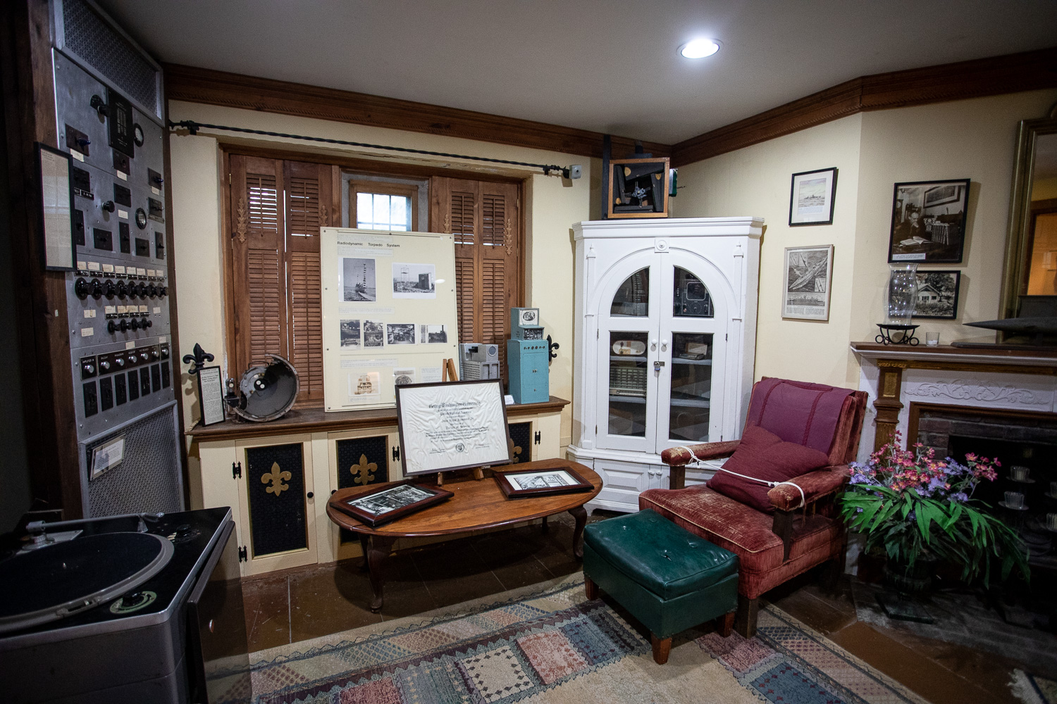 One of the interior rooms of the Hammond Castle showcasing some of Hammond's inventions.