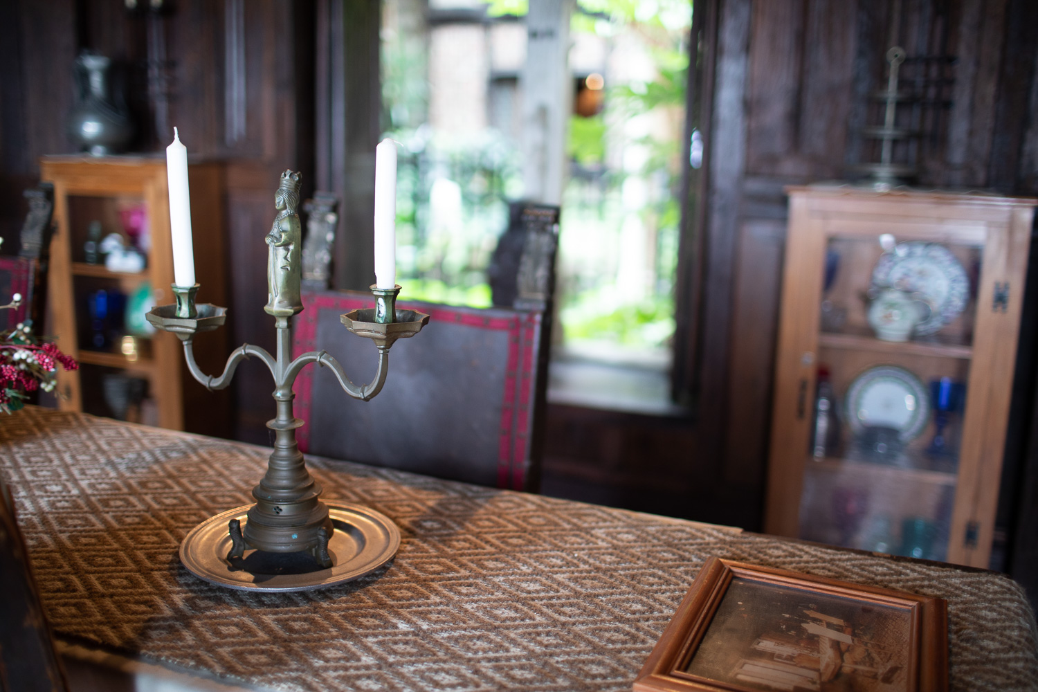 The dining room table. The majority of items at the Hammond Castle are antiques that have been brought over from Europe.