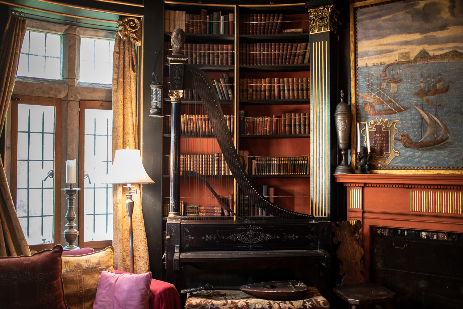 The library room where John Hays Hammond Jr. would conduct business meetings and read his favorite books.