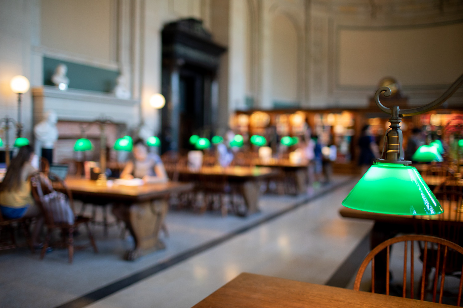 The striking green lamps at Bates Hall.