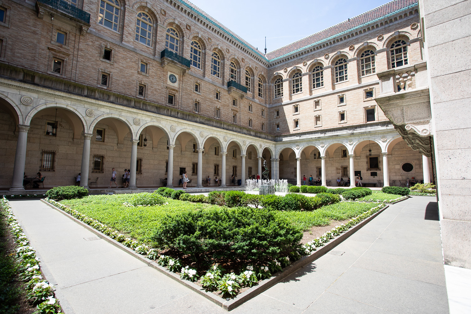 Open-air courtyard at the Boston Public Library.