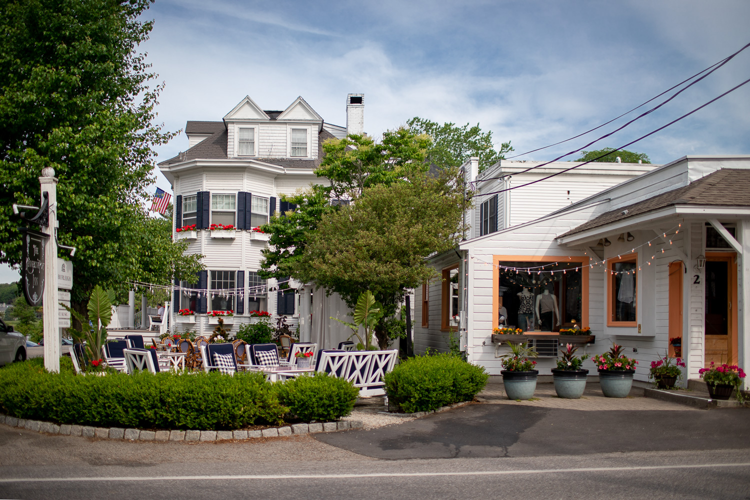 The gorgeous Kennebunkport Inn in the center of town. I would stay here or at least grab a drink in their outside patio.