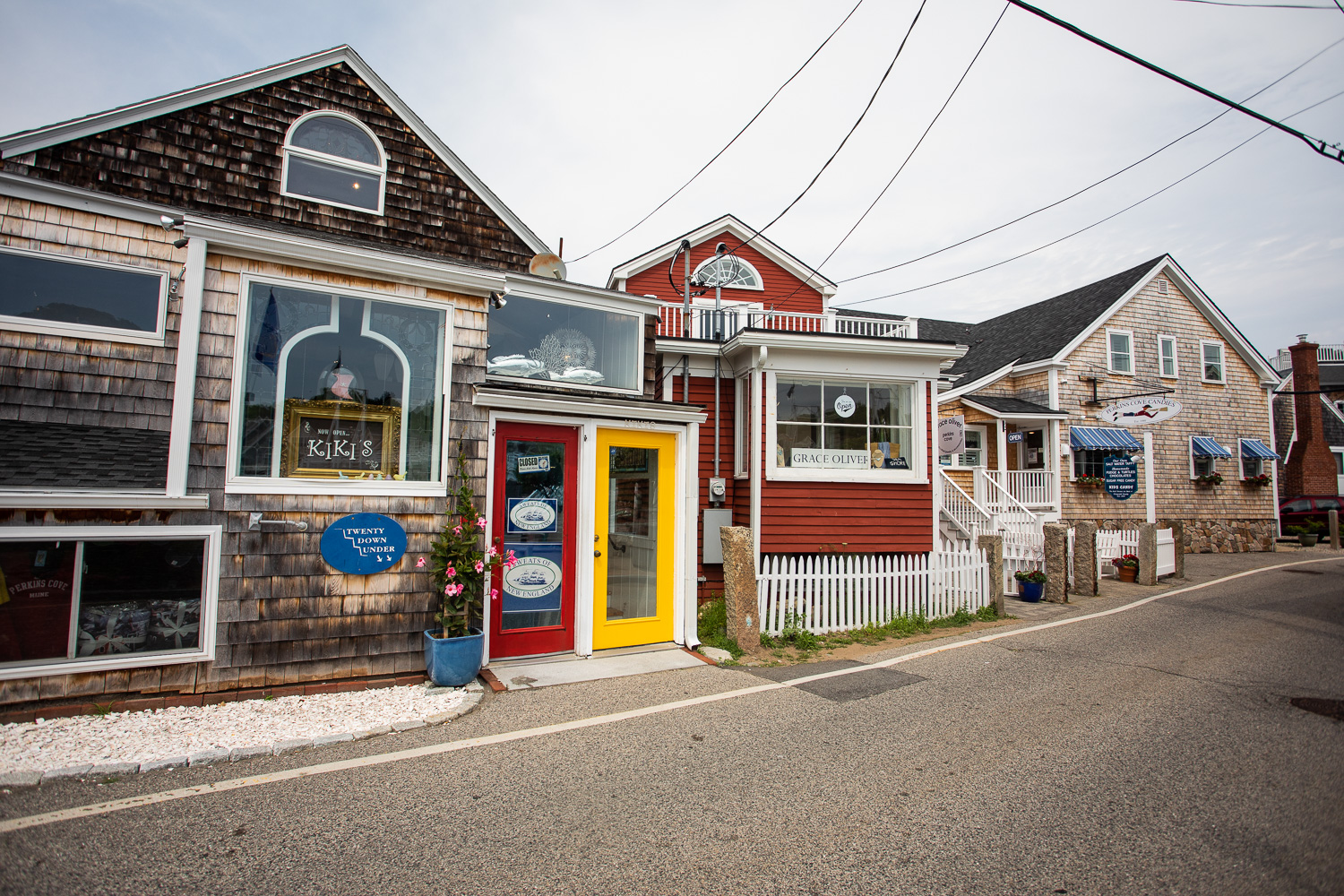 Quaint storefronts in the Sandy Cove part of Ogunquit, Maine.