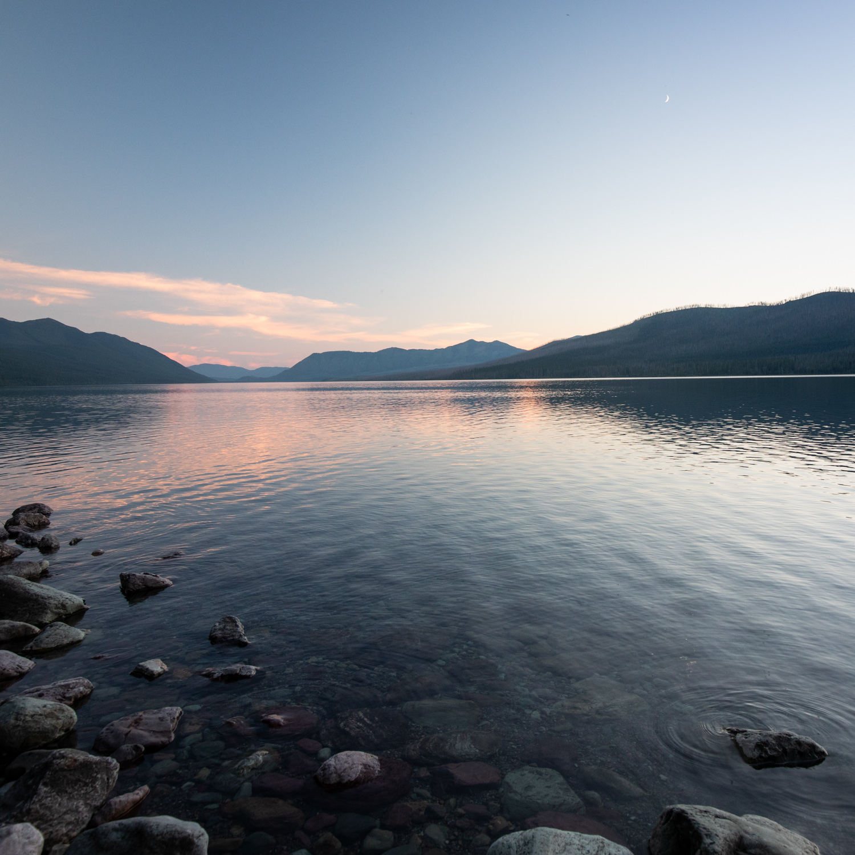 Evening light at Lake McDonald in Glacier National Park.